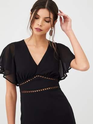 Very Lace Trim Woven Midi Dress - Black