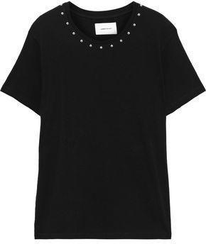 Current/Elliott Studded French Cotton-terry T-shirt