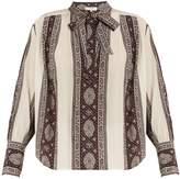 Sea Striped-paisley print tie-neck silk blouse