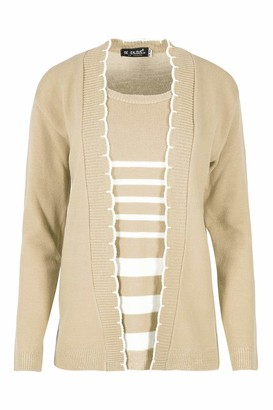 Be Jealous Long Sleeves Open Front Knitted Casual Party Jumper Sweater Stripes Twin Cardigan Top