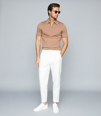 Reiss Maxwell - Merino Wool Zip Neck Polo in Camel