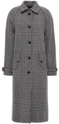 Masscob Marcia Belted Houndstooth Wool-blend Coat