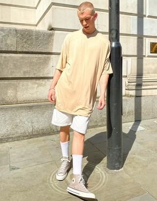 ASOS DESIGN oversized longline baseball t-shirt in viscose in brown
