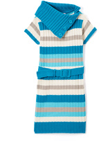 Pink Angel Turquoise & White Stripe Belted Dress - Infant Toddler & Girls