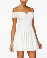 B. Darlin Juniors' Off-The-Shoulder Fit and Flare Dress