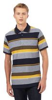 Maine New England Navy Textured Block Striped Print Polo Shirt
