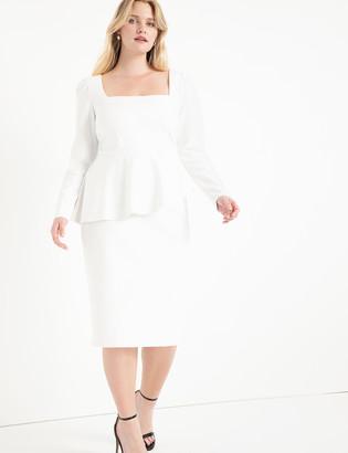 ELOQUII Square Neck Puff Sleeve Dress With Peplum
