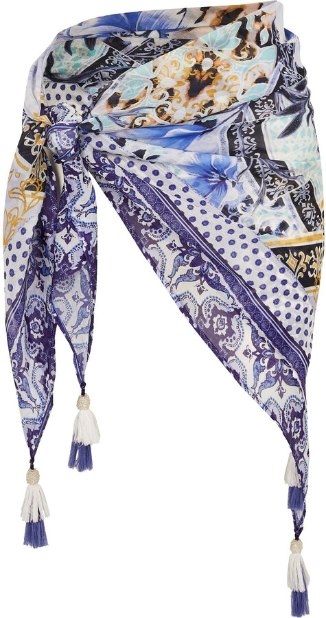 River Island Womens Plus Blue floral print beach sarong