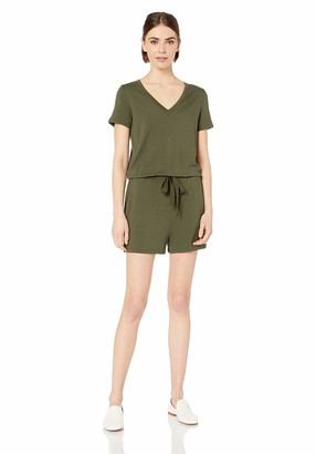 Daily Ritual Amazon Brand Women's Supersoft Terry Short-Sleeve V-Neck Romper