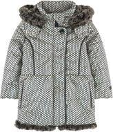 Catimini Printed padded coat with a false fur lining