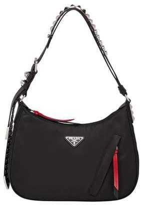 Prada Black Nylon Hobo Bag With Leather And Studs