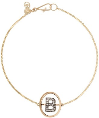 Annoushka 18kt yellow gold diamond initial B bracelet