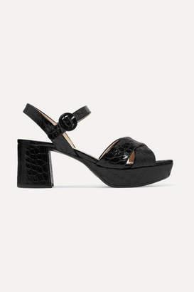 Prada 65 Croc-effect Leather Platform Sandals - Black
