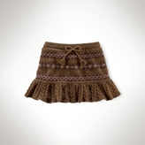 Cabled Fair Isle Peplum Skirt