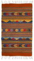 Geometric Wool Area Rug (2x3), 'Zapotec Fantasy'