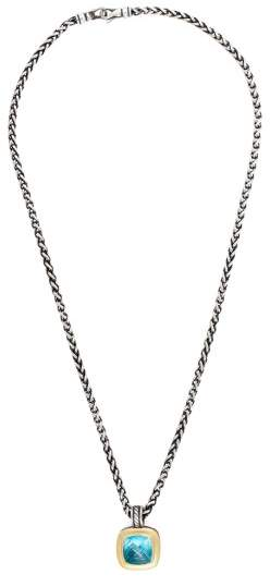 David Yurman Sterling Silver & 18K Yellow Gold with Topaz Pendant Necklace