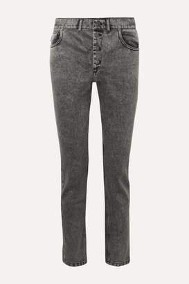 Balenciaga Acid-wash High-rise Straight-leg Jeans - Black