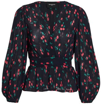 The Kooples Pleated Cherry Print Blouse