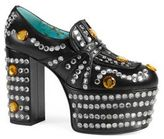 Gucci Amilna Crystal-Studded Leather Platform Loafers