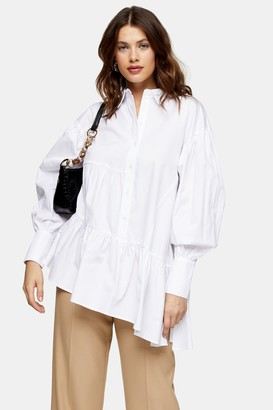 Topshop White Asymmetric Poplin Tiered Shirt