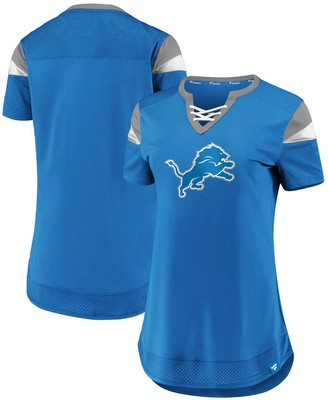 Women's NFL Pro Line by Fanatics Branded Blue Detroit Lions Draft Me Lace-Up T-Shirt