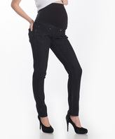 Lilac Black Over-Belly Maternity Skinny Pants