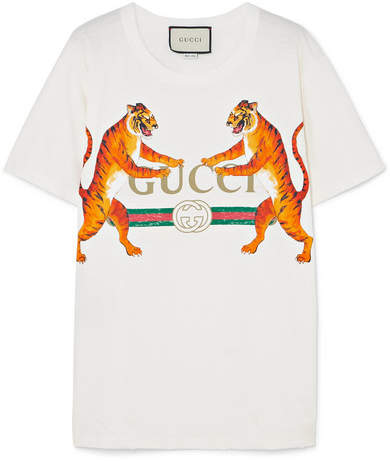 Gucci Oversized Printed Stretch-cotton Jersey T-shirt - White