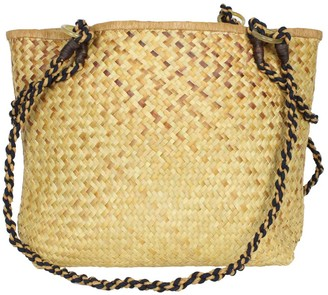 Maraina London Maurine Brown Straw Basket Beach Bag With Straps
