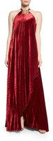 Ralph Lauren Fluid Velvet Plisse Halter Gown, Crimson