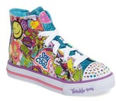 Skechers Girl's Twinkle Toes Shuffles High Top Light-Up Sneaker
