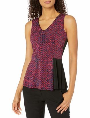 Ellen Tracy Women's Peplum Fold Knit Top