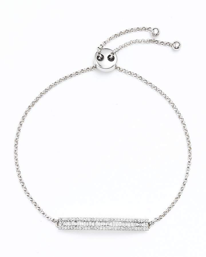 Bloomingdale's Diamond and Baguette Bar Bracelet in 14K White Gold, .50 ct. t.w.