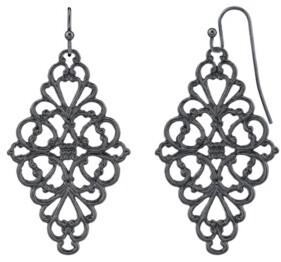 2028 Black-Tone Filigree Diamond Drop Earrings