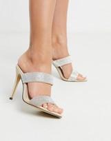 Qupid embellished stiletto heeled mules