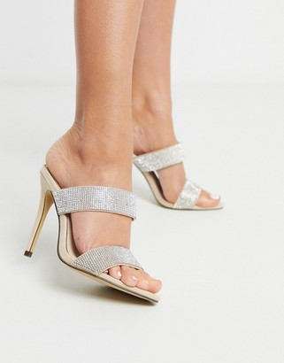 Qupid embellished stiletto heeled mules
