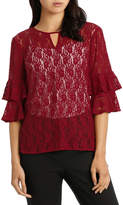 Basque Lace Frill Sleeve Keyhole Top