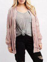 Charlotte Russe Plus Size Silky Longline Bomber Jacket