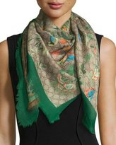 Gucci Tian Foulard Scarf, Green/Brown
