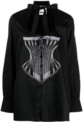 Seen Users Corset-Print Lace-Up Detail Shirt