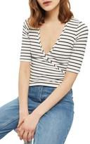 Topshop Women's Stripe Wrap Top