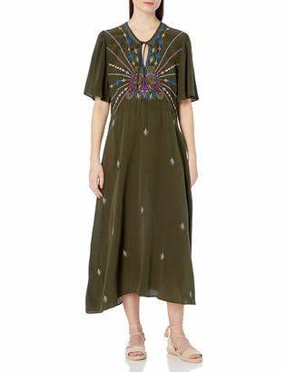 3J Workshop by Johnny was Women's Silk Flutter Sleeve Maxi Dress