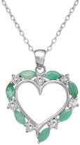 Townsend Victoria Sterling Silver Emerald (1 ct. t.w.) and White Topaz (1/4 ct. t.w.) Heart Pendant Necklace