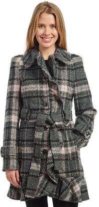 Fleet Street Women's Belted Plaid Coat with Flirty Hem Detail