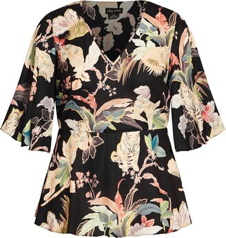 City Chic Mysterious Palm Flutter Sleeve Top
