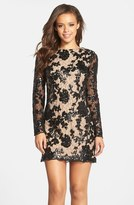 Dress the Population 'Grace' Sequin Lace Long Sleeve Shift Dress