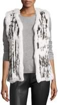 Neiman Marcus Rabbit Fur Vest, Gray/White