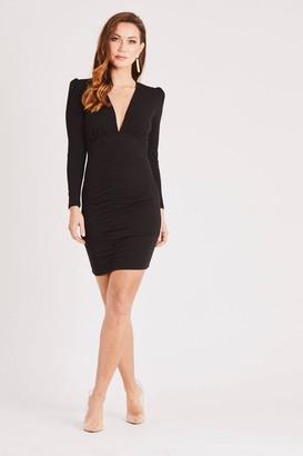 Skirt & Stiletto Black Long Sleeve Mini Dress with Plunge Neck & Puff Shoulder