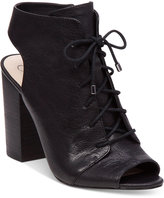 Jessica Simpson Klaya Lace-Up Peep-Toe Block-Heel Booties