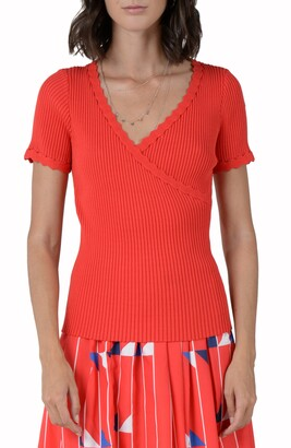 Molly Bracken Ribbed Scalloped V-Neck Sweater