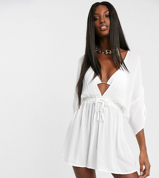 Asos Tall DESIGN TALL crinkle beach cover up with channel waist & drape sleeves in white